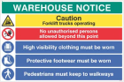 Warehouse Safety Caution forklift trucks, hivis, boots must be worn ...