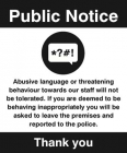 Warning abusive language or threatening behaviour will not be tolerated...