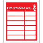 Your fire wardens are (space for 6 names and numbers) adapt-a-sign 215x310mm