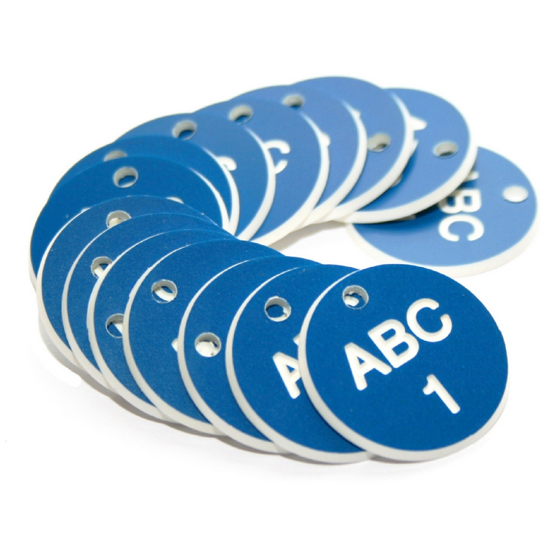 38mm Engraved Valve Tags - 50 sequential numbers with prefix - (eg. 1-50) White text on blue