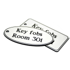 78x150mm Key fob oval - White text on black
