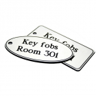 50x100mm Key fob rectangle - White text on red