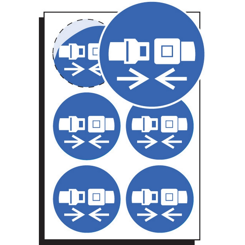 Seatbelt symbol 65mm dia - sheet of 6