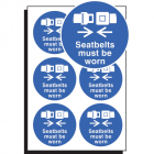 Seatbelts must be worn 65mm dia - sheet of 6