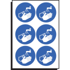 Wash hands symbol 65mm dia - sheet of  6