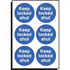 Keep locked shut 65mm dia - sheet of 6