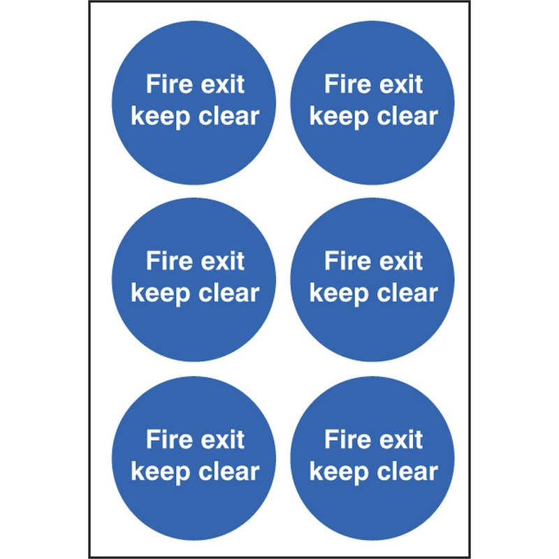 Fire exit keep clear 65mm dia - sheet of 6