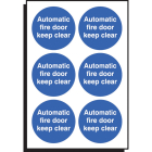 Auto fire door keep clear 65mm dia - sheet of 6