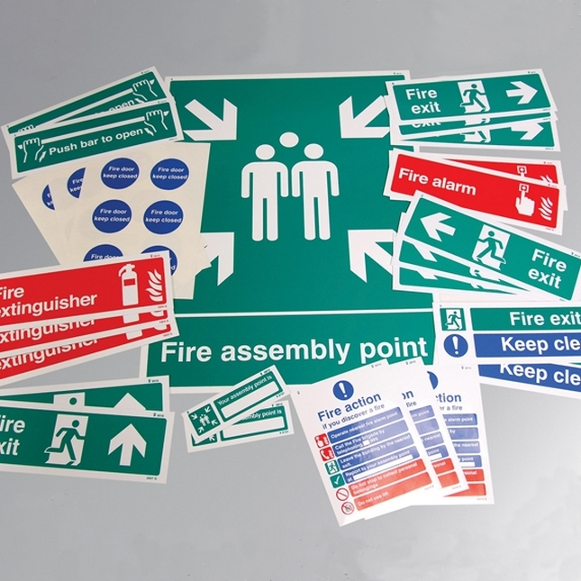 Fire safety signs kit - rigid value pack (save 20%)
