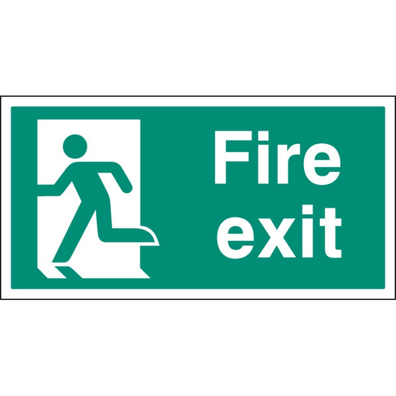 Fire exit left BS single sided 800x400mm 5mm rigid