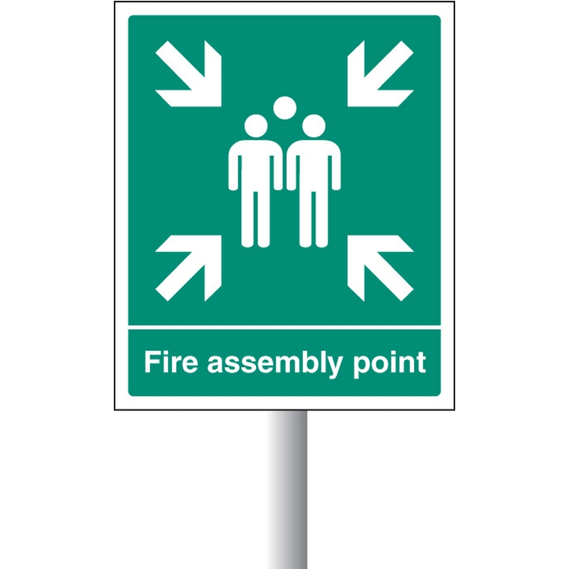 Fire assembly point aluminium c/w channel 450x600mm