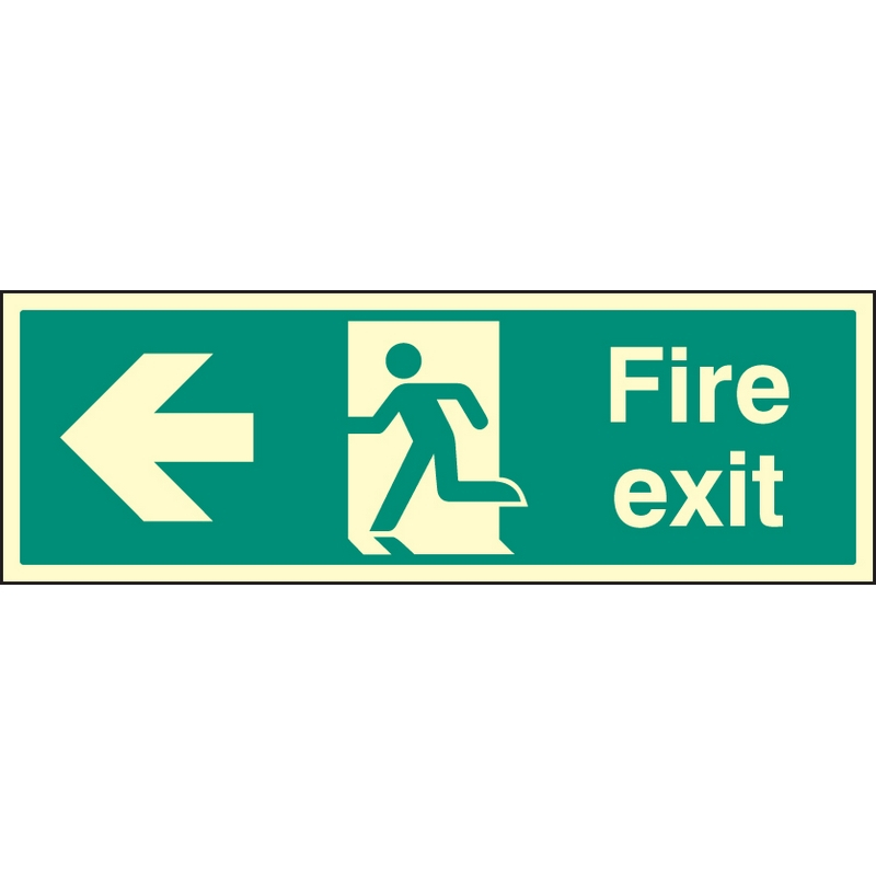 Fire exit left single sided 900x300mm photoluminescent