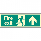 Fire exit up single sided 900x300mm photoluminescent