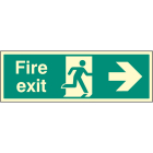 Fire exit right single sided 900x300mm photoluminescent