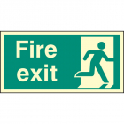 Fire exit right single sided 800x400mm photoluminescent