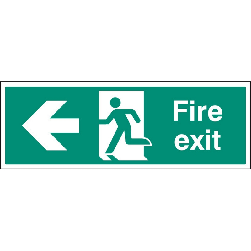 Fire exit left single sided 1200x400mm 5mm rigid