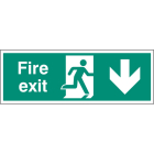 Fire exit arrow down single sided 1200x400mm 5mm rigid