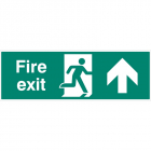 Fire exit double sided with arrow up 1200x400mm 5mm rigid