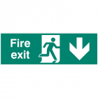 Fire exit double sided with arrow down 1200x400mm 5mm rigid