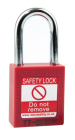 Safety Lockout Padlock, Keyed Different, Red