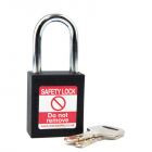 Safety Lockout Padlock, Keyed Different, Black