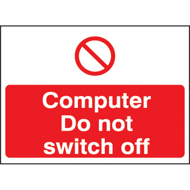 Computer do not switch off 35x25mm self adhesive