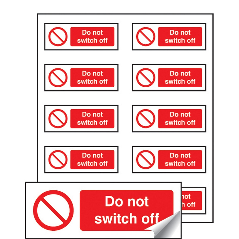Do not switch off sheet of 10 labels 40x18mm