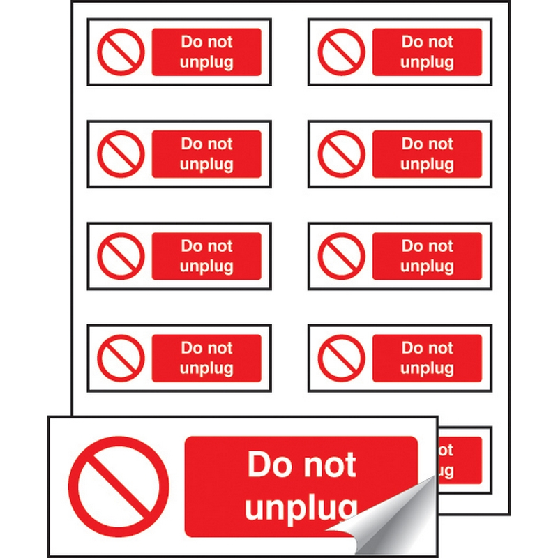 Do not unplug sheet of 10 labels 40x18mm