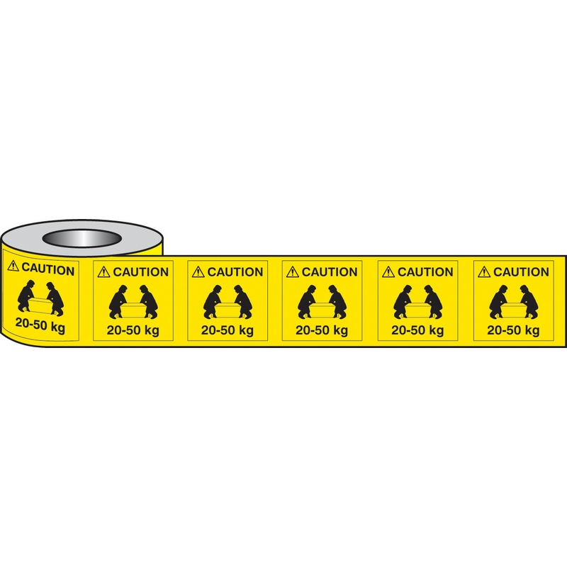 Lifting labels caution 20-50kg roll of 500 50x50mm