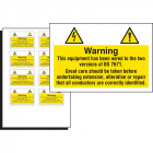 Electrical hazard label 75x50mm Sheet of 10