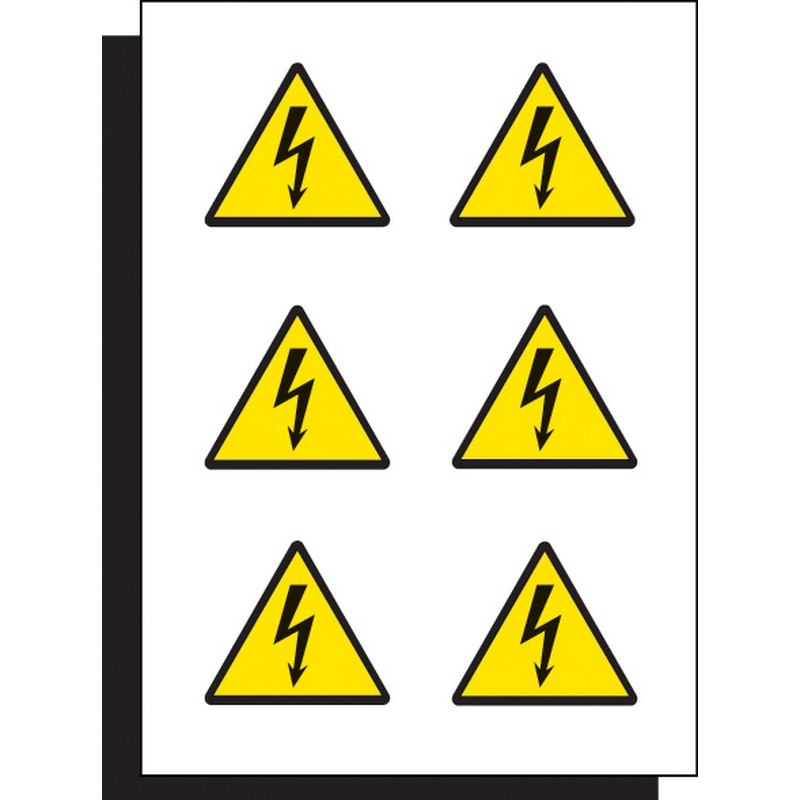 Electricity label 100mm sheet of 6