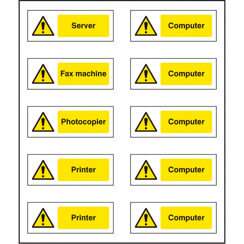 Office labels (various machinery) sheet of 10 labels 40x18mm