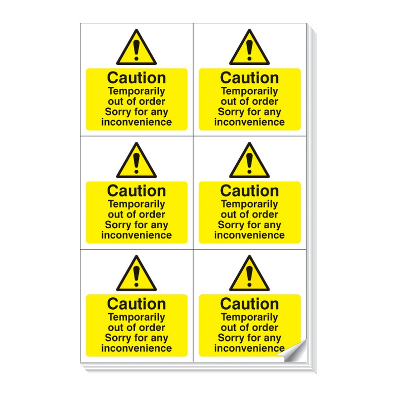 Caution temporarily out of order easy peel labels sheet of 6