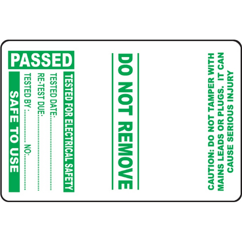 100 PAT Test Cable Wrap Labels - Passed 75x50mm