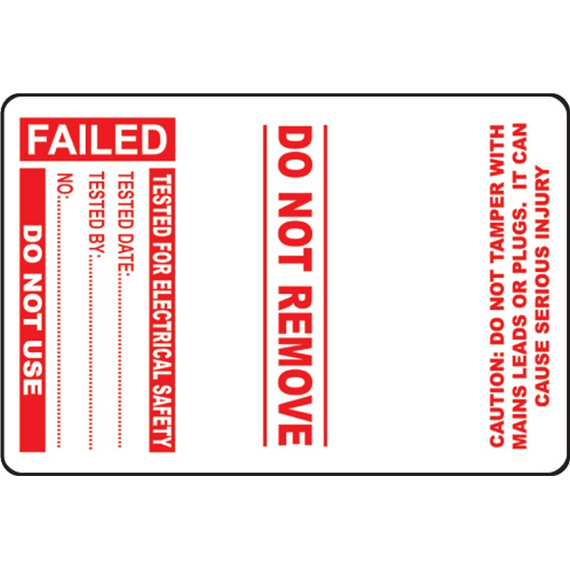 100 PAT Test Cable Wrap Labels - Failed 75x50mm