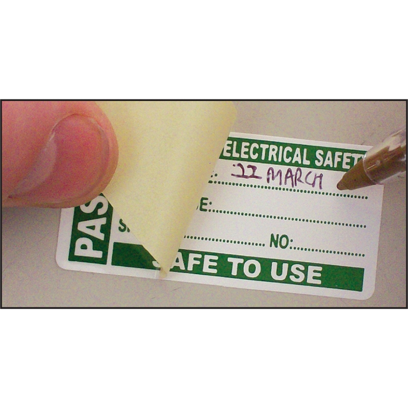 100 PAT Test Write & Seal Labels - Passed 50x25mm