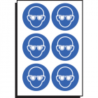 Eye protection symbol 50mm dia - sheet of 6