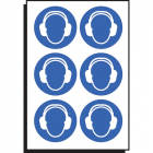 Ear protection symbol 100mm dia - sheet of 6