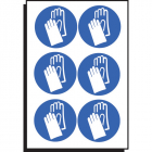 Hand protection symbol 100mm dia - sheet of 6