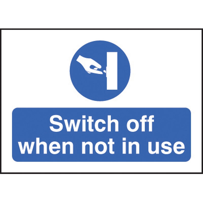 Switch off when not in use 35x25mm SAV