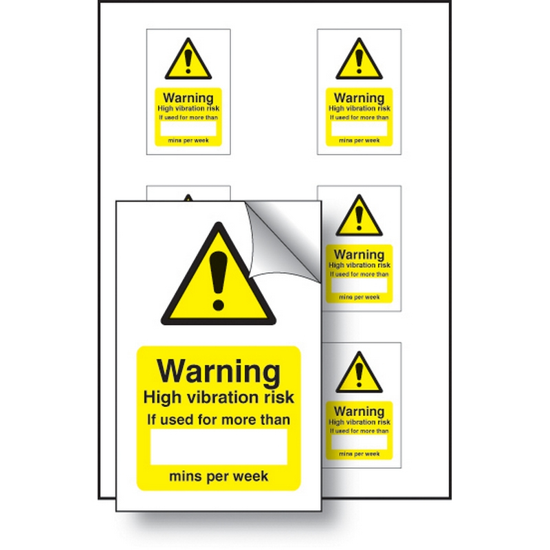 High vibration risk if used minutes/per week 50x75mm - sheet of 6