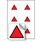 Red triangle vibration safety 25x25mm - sheet of 6 self adhesive