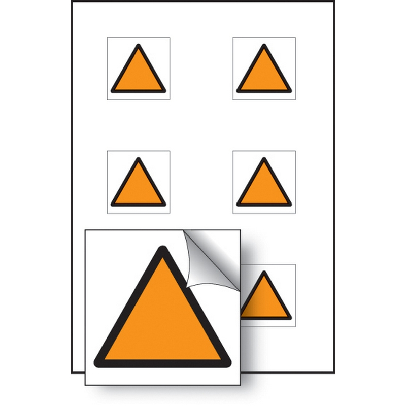 Orange triangle vibration safety 25x25mm - sheet of 6 self adhesive