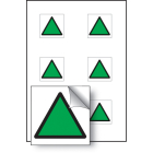 Green triangle vibration safety 25x25mm - sheet of 6 self adhesive