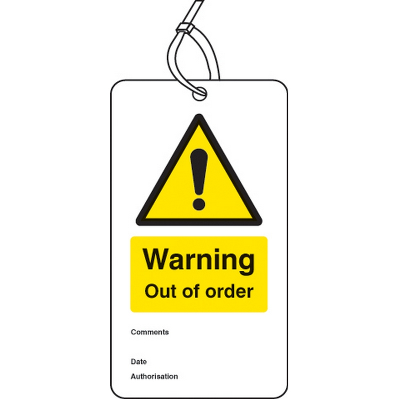 Warning out of order double sided safety tags (pack of 10)