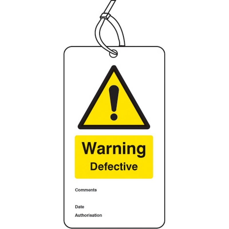 Warning defective double sided safety tags (pack of 10)