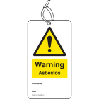 Warning asbestos double sided safety tags (pack of 10)