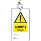 Warning unsafe double sided safety tags (pack of 10)