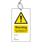 Warning equipment is locked out double sided safety tags (pack of 10)