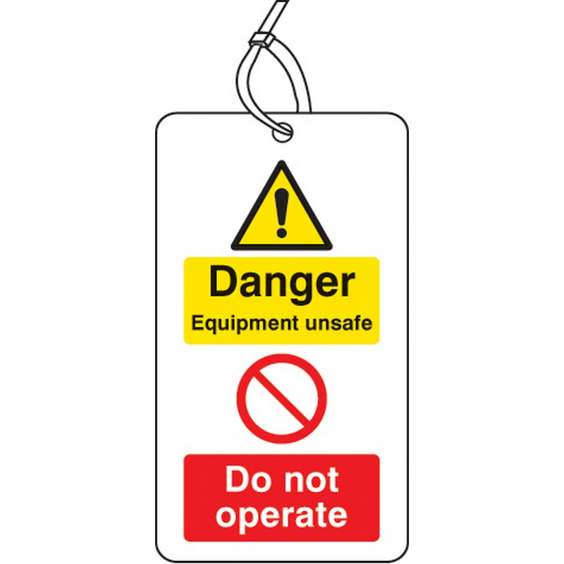 Danger equipment unsafe do not operate D/S tag pk of 10